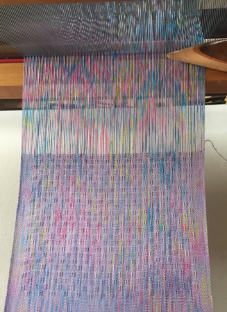 weaving on speckle dyed warp