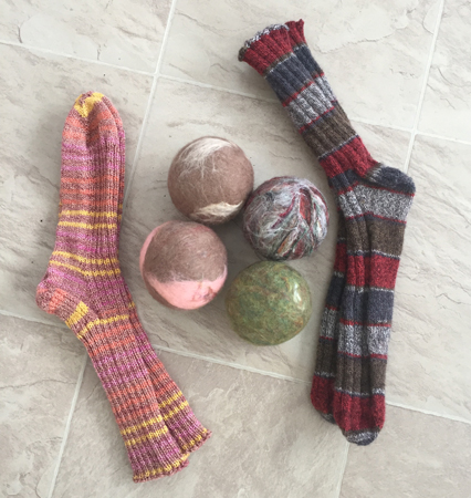 dryer balls and knitted socks