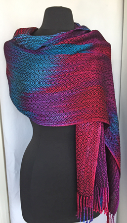 rayon shawl with black weft, draped