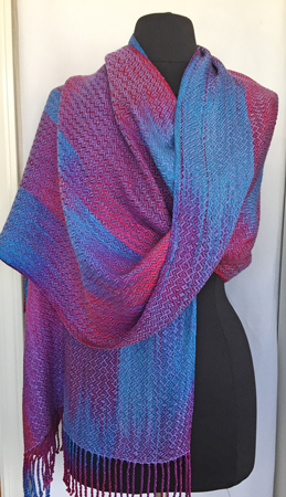 shawl with periwinkle weft, draped