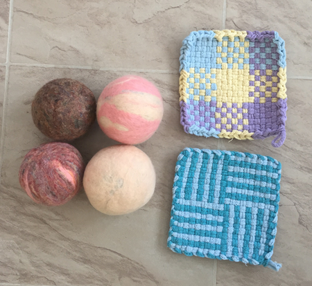 felted dryer balls and potholders 1