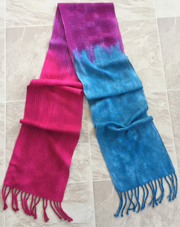 red to blue scarf