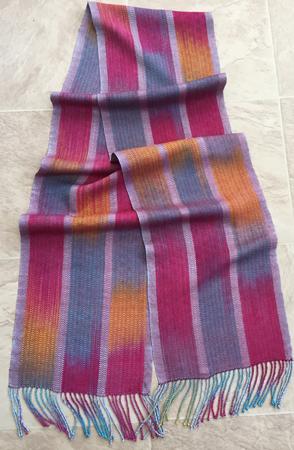 burgundy tram silk scarf finished