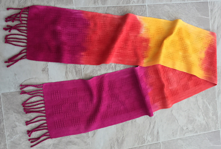 red to yellow cotton scarf