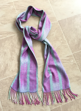 hand painted silk warp with periwinkle weft
