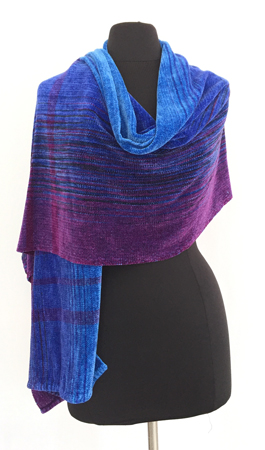 amethyst & sapphires handwoven rayon chenille shawl, with stripes