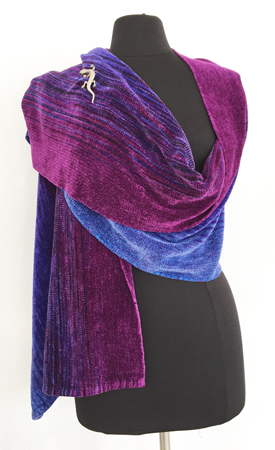 amethyst & sapphires handwoven rayon chenille shawl