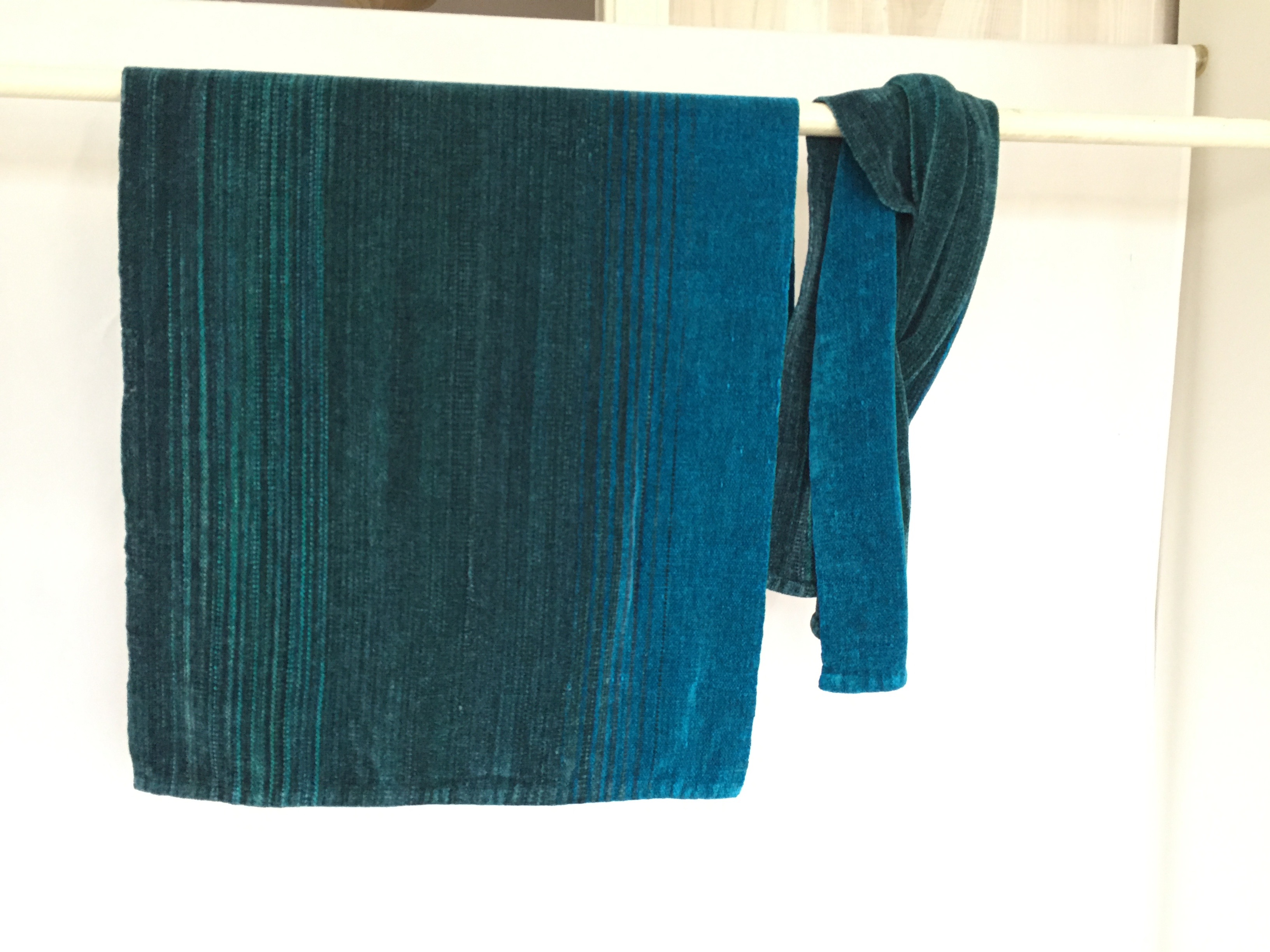 into the blue rayon chenille shawl on a rod