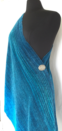 into the blue rayon chenille toga