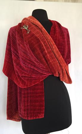 fire coals rayon chenille shawl draped