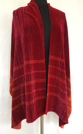 fire coals rayon chenille shawl with stripes