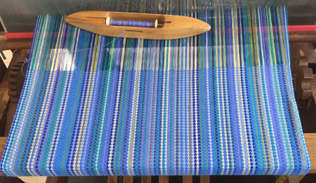 periwinkle bumberet on loom