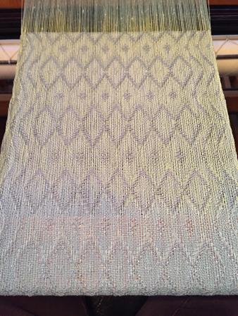 raku scarf with fancy treadling