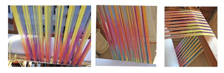 3 pansies stripes on loom