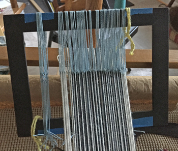 homemade rigid heddle in action