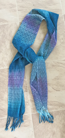 hand painted tencel scarf with immersion dyed weft