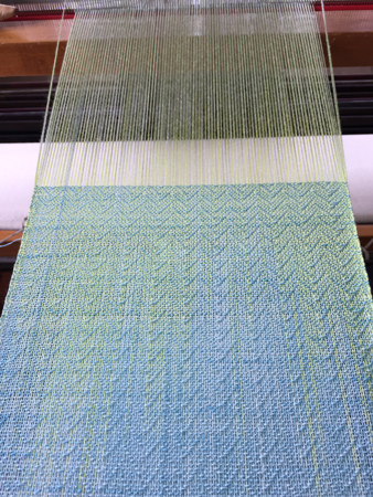 weaving with my dyed weft