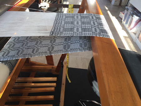 black and white tencel scarf on loom