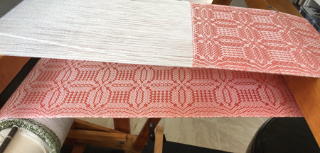 coral & white tencel scarf on loom