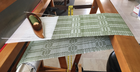 green & white tencel rectangle scarf on loom