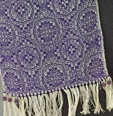 beaded fringe on purple medallions scarf