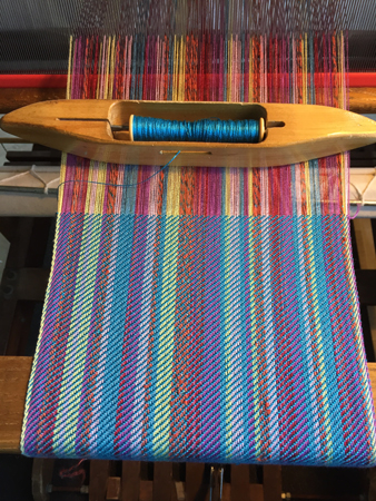 blue random striped scarf with bling