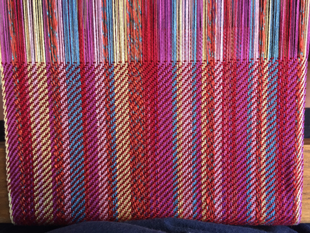 red random striped scarf with bling