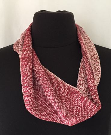 red & white silk cowl