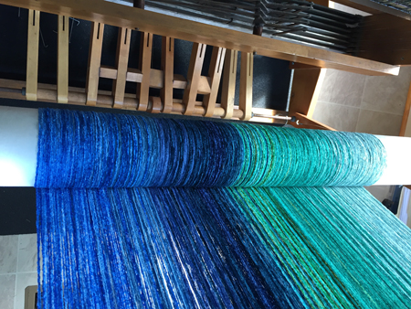 beaming green to blue shawl warp