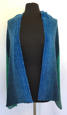 blue-green shawl, blue in front