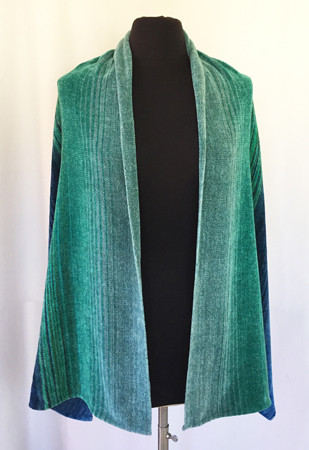 blue-green shawl, green in front