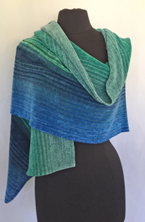 blue-green shawl, draped