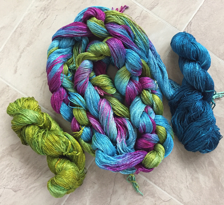 blue, green & purple bamboo with skeins