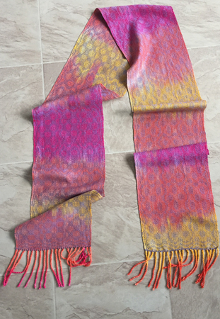 hand painted red-orange-yellow scarf with periwinkle