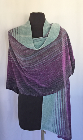 midnight moon shawl, front, drape