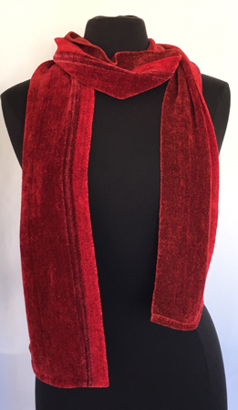 red chenille scarf, draped
