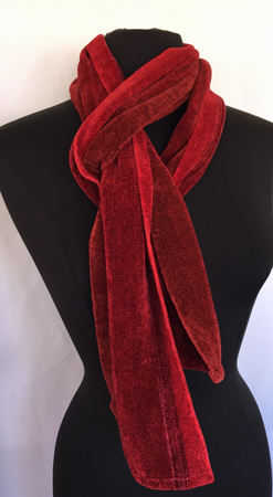 red chenille scarf, keyhole
