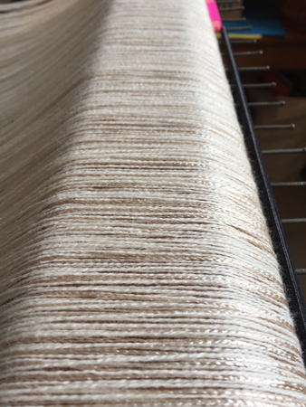 cotton-rayon warp on back beam