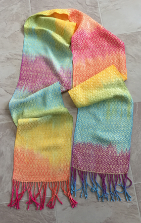 handpainted yellow rainbow scarf