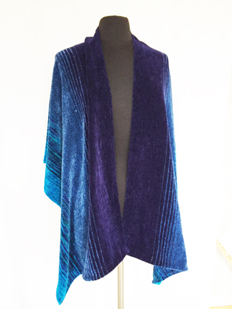Midnight Peacock shawl, seamed, front