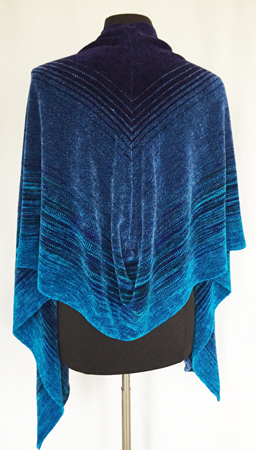 Midnight Peacock shawl, seamed, back