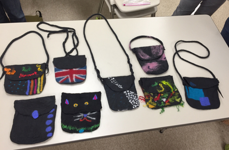 8 felted bags