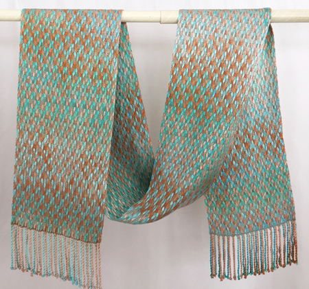 terra cotta turquoise scarf draped
