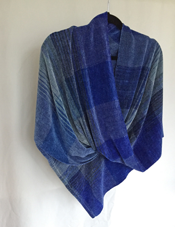 rayon chenille mobius, in blues