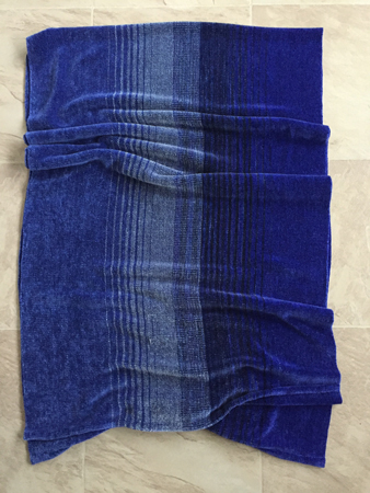 rayon chenille shawl, in blues