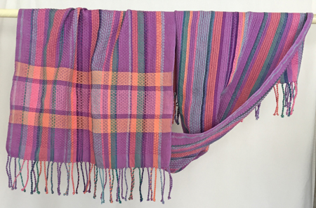 handwoven Happy shawl, flat