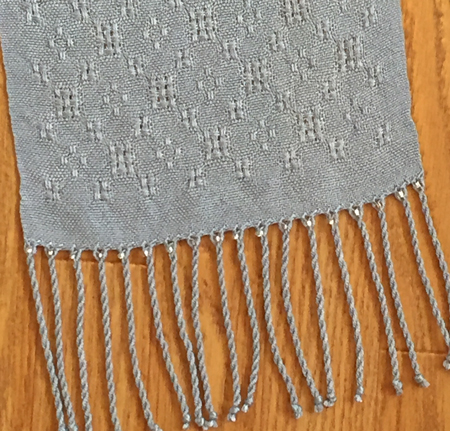 beaded end of scarf