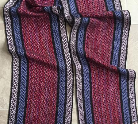 springtime scarf with black weft, close