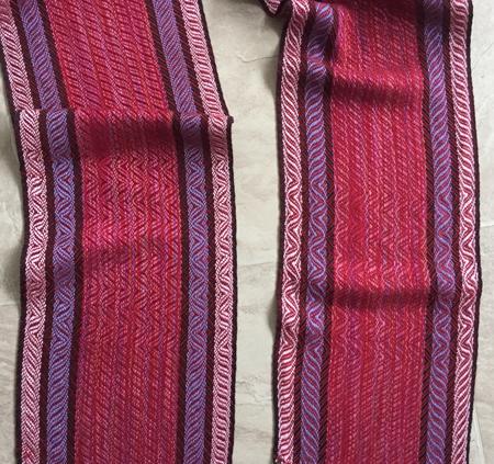 springtime scarf with red, close