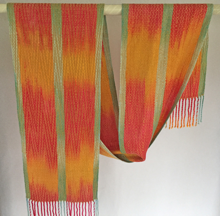 hand painted tencel scarf-golden zigs